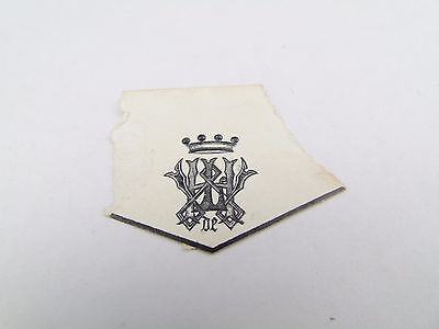 ANTIQUE ROYAL CROWN  EMBOSSED WAX SEAL CREST ARMORIAL LETTER HEAD BOOK PLATE