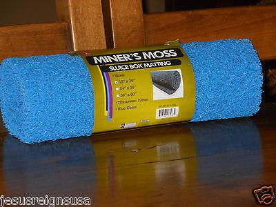 "Blue Miner's Moss Sluice Box Matting 12"" x 36"" x 10mm Prospecting Gold Panning"