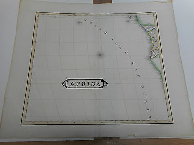 100% ORIGINAL LARGE WEST AFRICA COAST MAP BY W LIZARS C1845 VGC