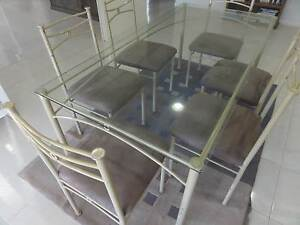glass top dining table chairs Toowoomba Toowoomba City Preview