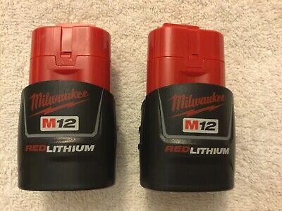 2 New Genuine Milwaukee 48-11-2401 Batteries 12 Volt 12V M12 Red Lithium Ion OEM