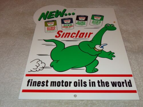 "VINTAGE SINCLAIR DINO DINOSAUR MOTOR OIL 12"" METAL SERVICE STATION GASOLINE SIGN"