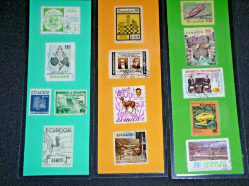 3 BOOKMARKS ~  ECUADOR Laminated POSTAGE STAMPS COLORFUL