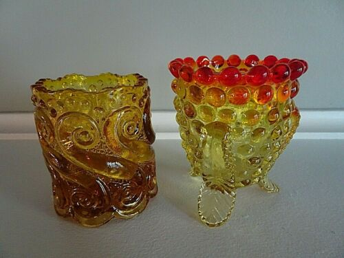 Pair of Glass Toothpick Holders AMBERINA Amber Hobnail Footed S Repeat