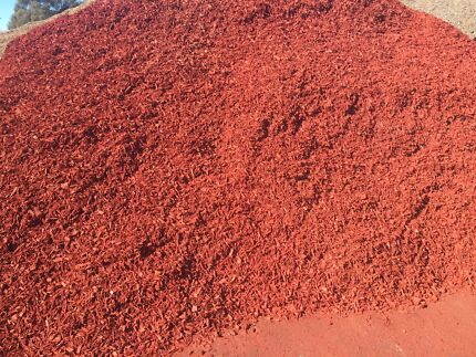 Red Woodchips Black Mulch Gravel Sand Soil and Roll on Lawn Turf