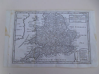100% ORIGINAL ENGLAND AND WALES MAP BY H MOLL C1734 SCARCE
