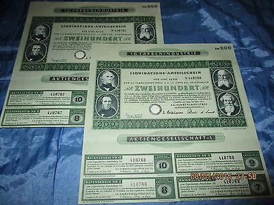 144 : 2 x Wertpapier / historisch , I.G. FARBEN , März 1953 , Frankfurt , 67+68