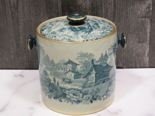 Antique Underglazed Transferware Biscuit Jar Teal Gray Signed