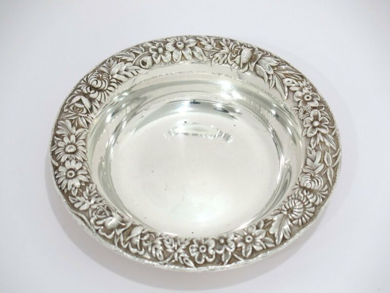 5 in - Sterling Silver S. Kirk & Son Antique Floral Repousse Round Serving Plate