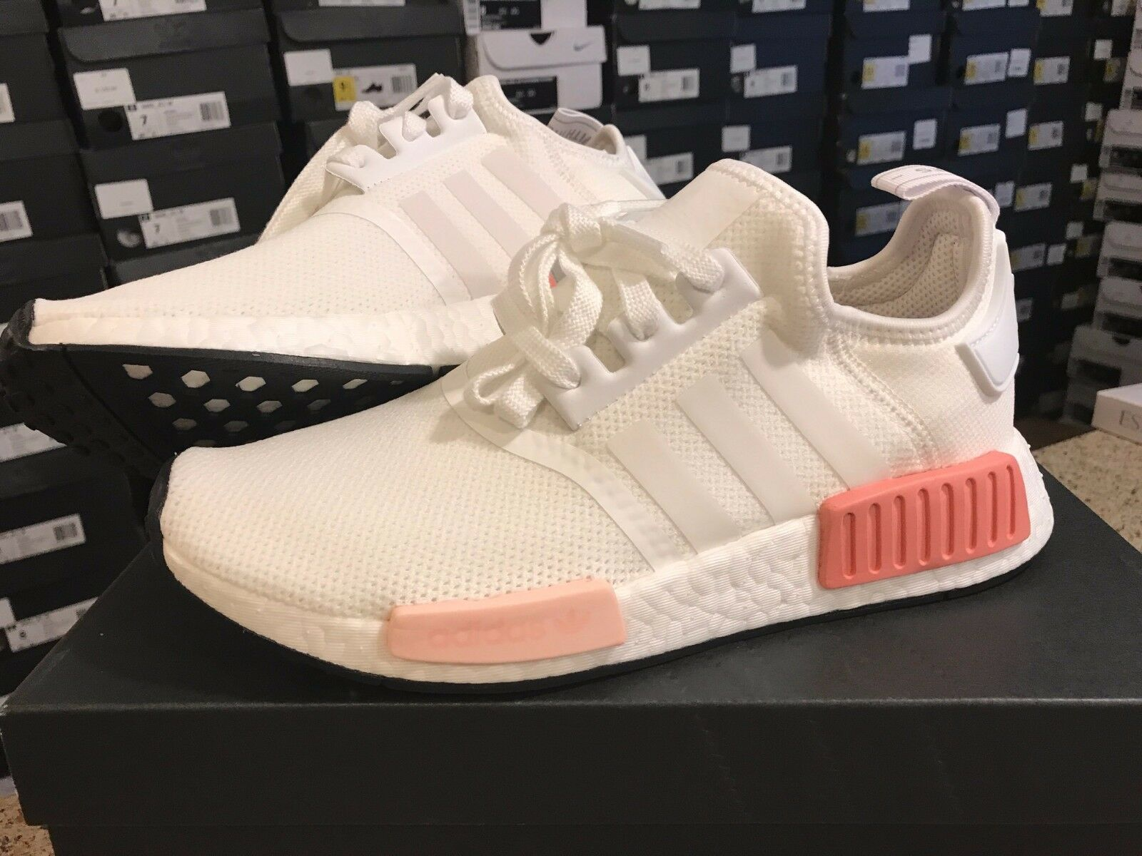 sneakers sports shoes newest Adidas NMD R1 Runner White Rose White Pink BY9952 ...