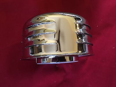 "4"" Chrome Nostalgic Louvered Air Cleaner 1 + 2 Barrel Stromberg Rochester Filter"