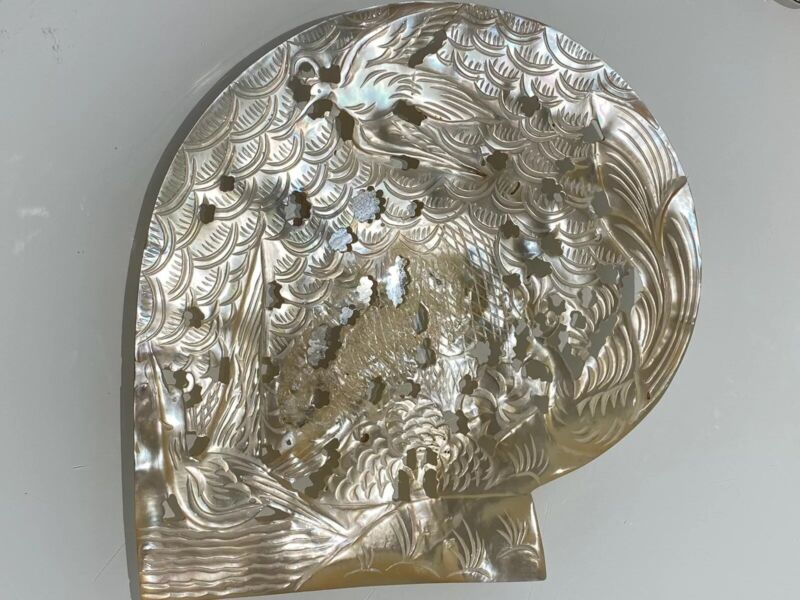 Carved Mother Of Pearl Bird Motif Shell Art