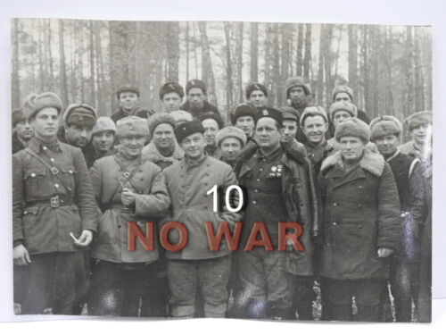 WWII ORIGINAL SOVIET LARGE PHOTO LEADERS OF PARTISANS FEDOROV & DRUZHININ 1943