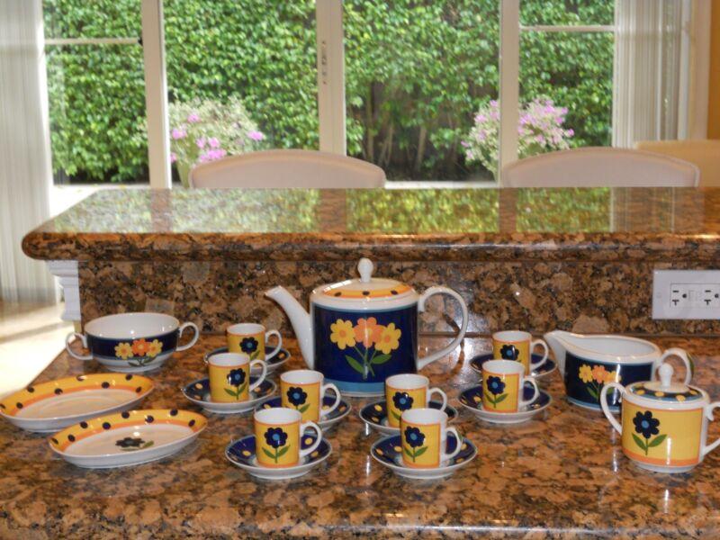"""Vista Alegre """"Vista"""" Coffee Set- 22 Stunning Pieces"""