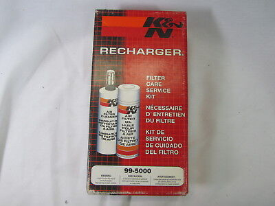 K&N Air Filter Cleaning Kit 99-5000 Recharger Restore Spray Cleaner Oil