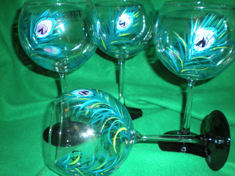 HAND PAINTED TEAL/BLUE PEACOCK 19 OUNCE  BALLOON GOBLETS/ SET/4(MADE IN THE USA)