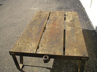 Antique Warehouse Oak Trolley Cart Truck Coffee Table