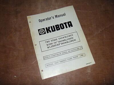 Kubota Bl2563 63 Two 2 Stage Snowblower Owner Operator Maintenance Manual