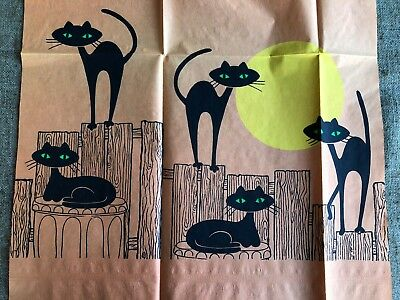 Cool Halloween Decoration (Vintage 1950's Crepe Paper Halloween Decoration-5 Cool Green Eyed Cats on)