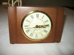 Vtg General Electric Alarm Clock Solid Mohogany Wood Case Model 7277
