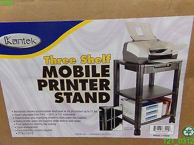 Kantek Mobile Printer Stand Three-shelf 17w X 13-14d X 24-14h Black Ps540