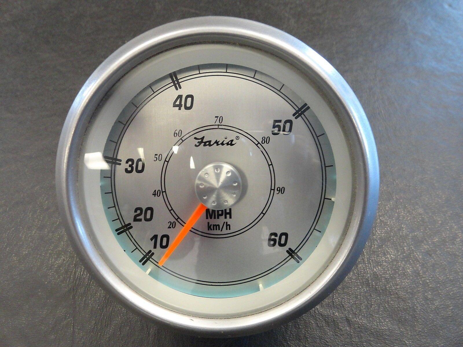 faria speedometer gauge silver bezel face 3 1 4 marine. Black Bedroom Furniture Sets. Home Design Ideas