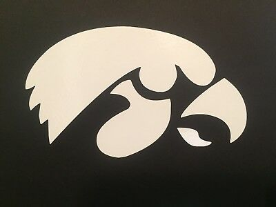 NCAA IOWA HAWKEYES WHITE VINYL STICKER / DECAL