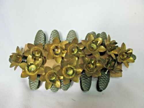 12 Vintage Christmas Tree Candle Holder Clips Metal Pinecone & Flower Goldtone