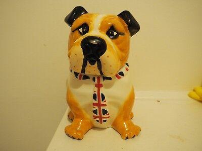 English British Bulldog UK Tie Ceramic Cookie Jar Gift Kitchen Home Decor