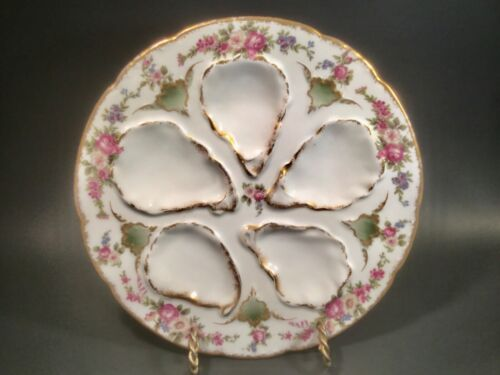 Antique Limoges Oyster Plate Flowers and Gold, op633