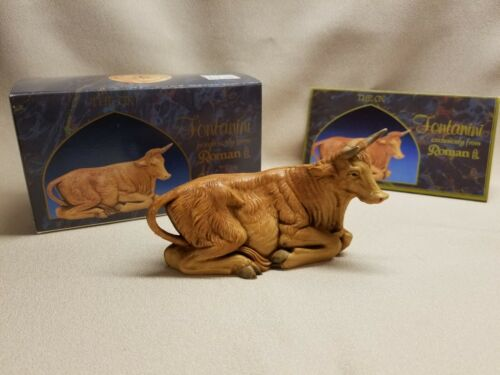 """Vintage Fontanini Figurine - Resting Ox / Cow #27 - 5"""" Scale With Box"""