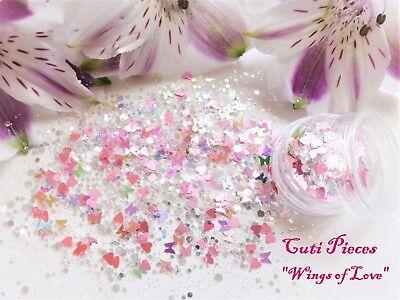 ove* Iridescent Pearlescent Hex Heart Butterfly Glitter Pot (Glitter Hexe)