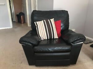 Recliner Extra Large Black Sofa / Armchair 1.5 Seater