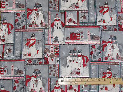 Seasons Greetings 2016 Snowmen Patch Christmas Fabric by the 1/2 Yard #61210 (Christmas Snowmen)