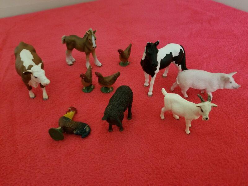 10 Schleich Farm Animal Lot Horses Cows Sheep Chicken