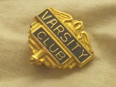 vintage VARSITY CLUB pin small metal & enamel blue gold-tone pinback brooch