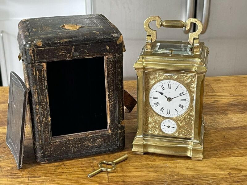 Antique French Repeater Carriage Clock with Alarm In Original Case