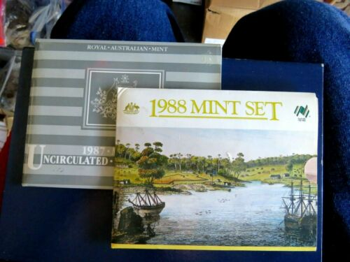 AUSTRALIA 1987 & 1988 7 COIN MINT SETS ORIGINAL MINT PACKAGING