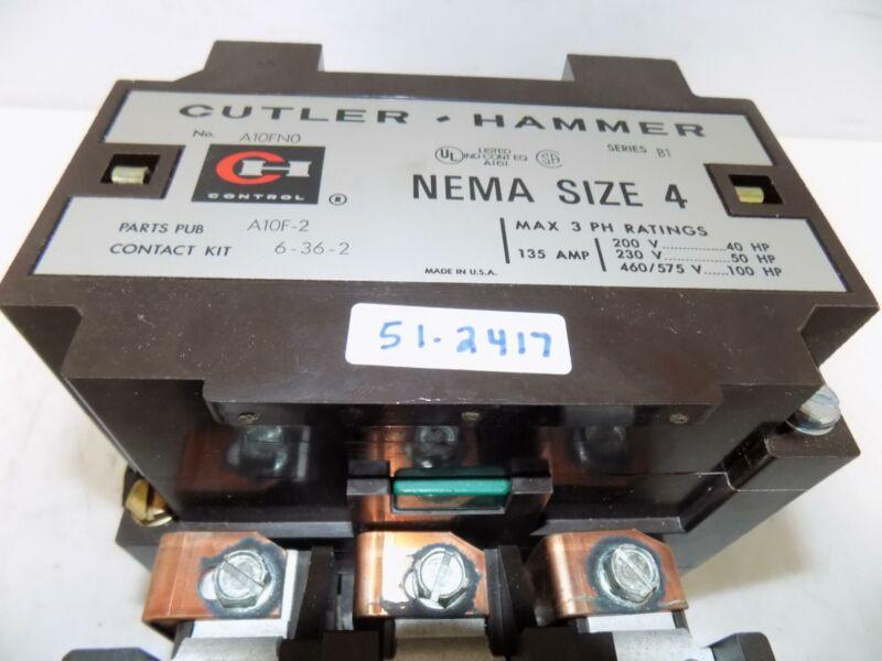 CUTLER HAMMER NEMA SIZE 4 135A 100HP 460/575V MOTOR STARTER A10FN0 SER. B1