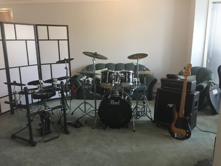 Drums Yamaha Roland Paiste Cymbals Bass Guitar and Amp