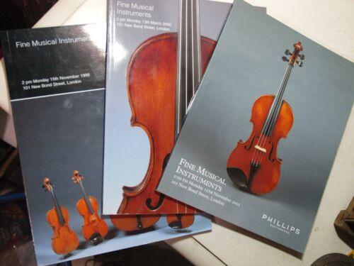 3 Phillips Fine Musical Instruments Auction Catalog 99-2001, violins bows guitar