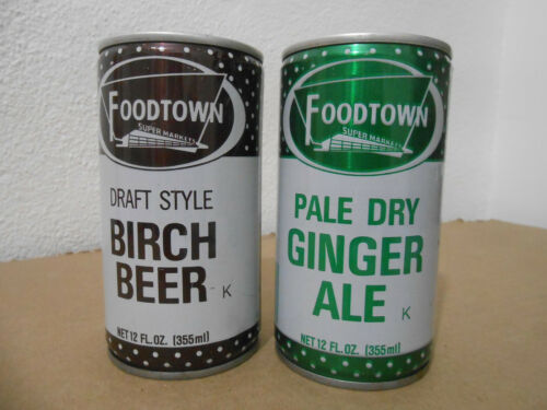 2 FOODTOWN BIRCH BEER GINGER ALE COLA PULL TAB 12 OZ SODA CANS EDISON NJ * CLEAN