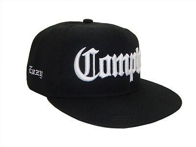 Black & White Compton EAZY Flat Bill Snapback Retro Cap Caps Hat Hats NWA Dre E ()