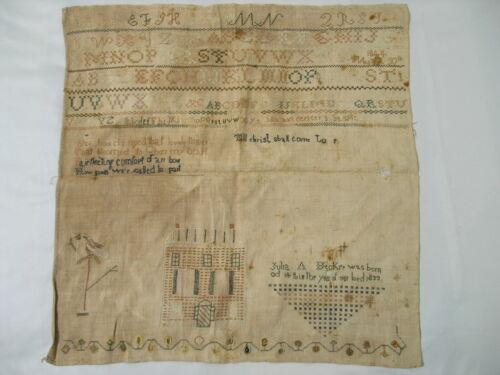 """1844 Antique Needlework Sampler - Julia A Becker (b. 1833) - Sewing 19"""" x 18"""""""
