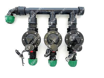 Kit Irrigation 3 Zone Lawn Garden Solenoid Valve Collector 20 1/2