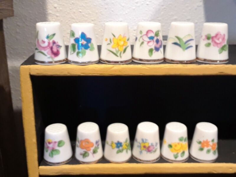 Vintage Porcelain Monthly Thimbles with Flowers lot of 12 Complete Bone China