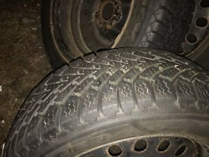 2 goodyear nordic winter tires 225/55 r17 like new