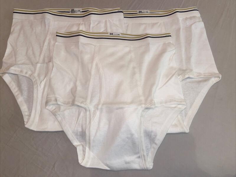 Vintage 70s 80s of 3 JC Penney Mens Briefs Underwear 100% Cotton - Size 34 - NEW