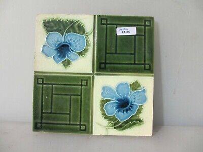 Antique Ceramic Tile Architectural Vintage Floral Flower Flowers Art Nouveau Old