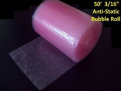 50 Foot Pink Anti Static Bubble Wrap  Roll  3 16  Small Bubbles  Perforated